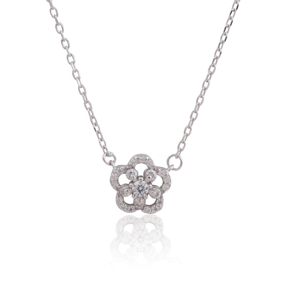 Collier fleur en argent sterling 925 et zircone cubique