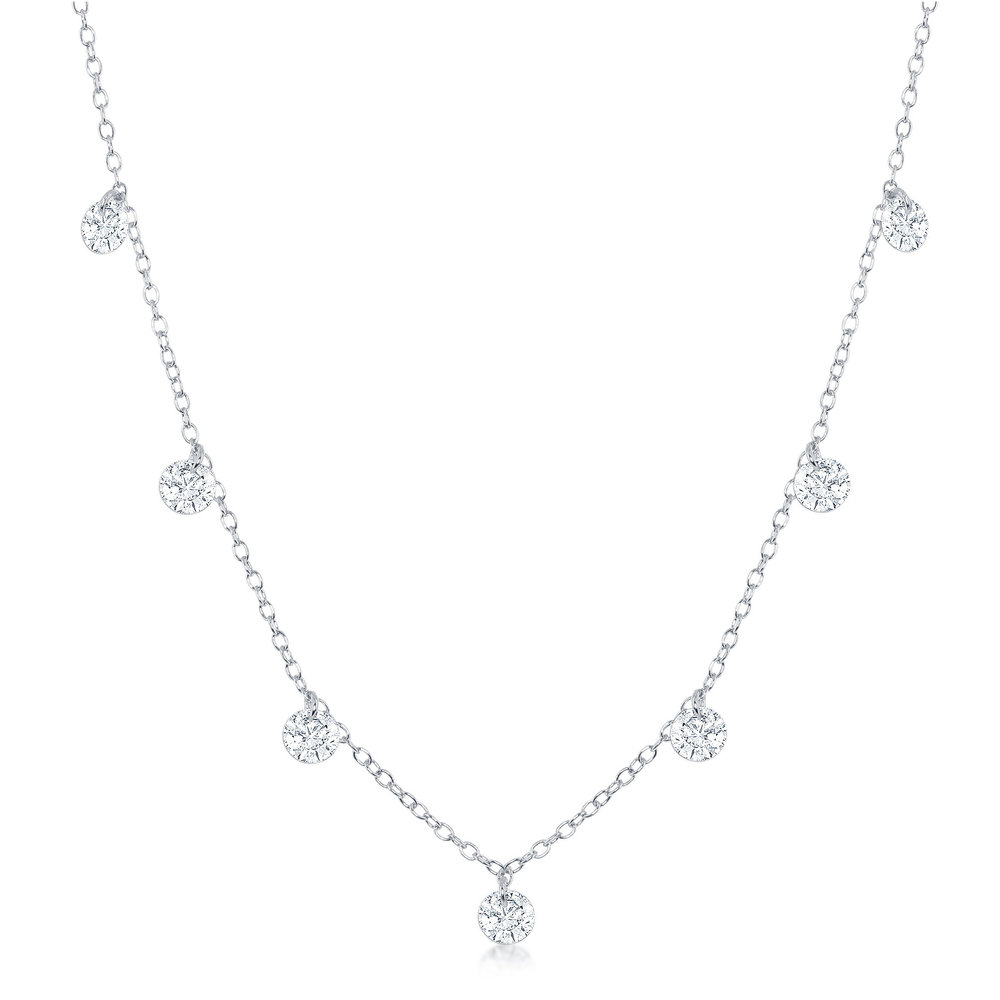 Necklace for women in silver sterling .925 with hanging cubic zirconia