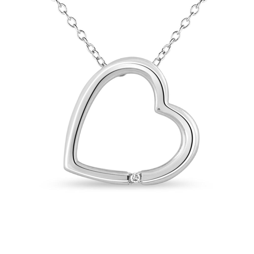 Pendentif coeur avec chaîne en argent sterling .925 et zircone cubique