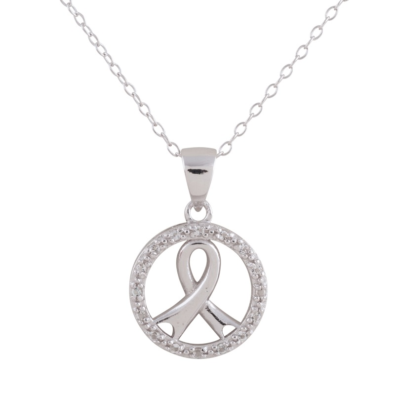 Cancer Symbol  pendant in sterling silver .925 rhodium plated with cubic zirconia (chain included 18