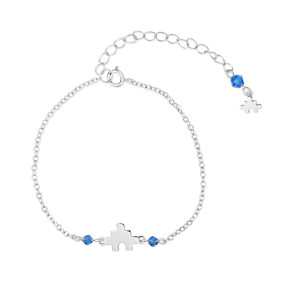 Autism Awareness puzzle bracelet with blue crystal in sterling silver .925