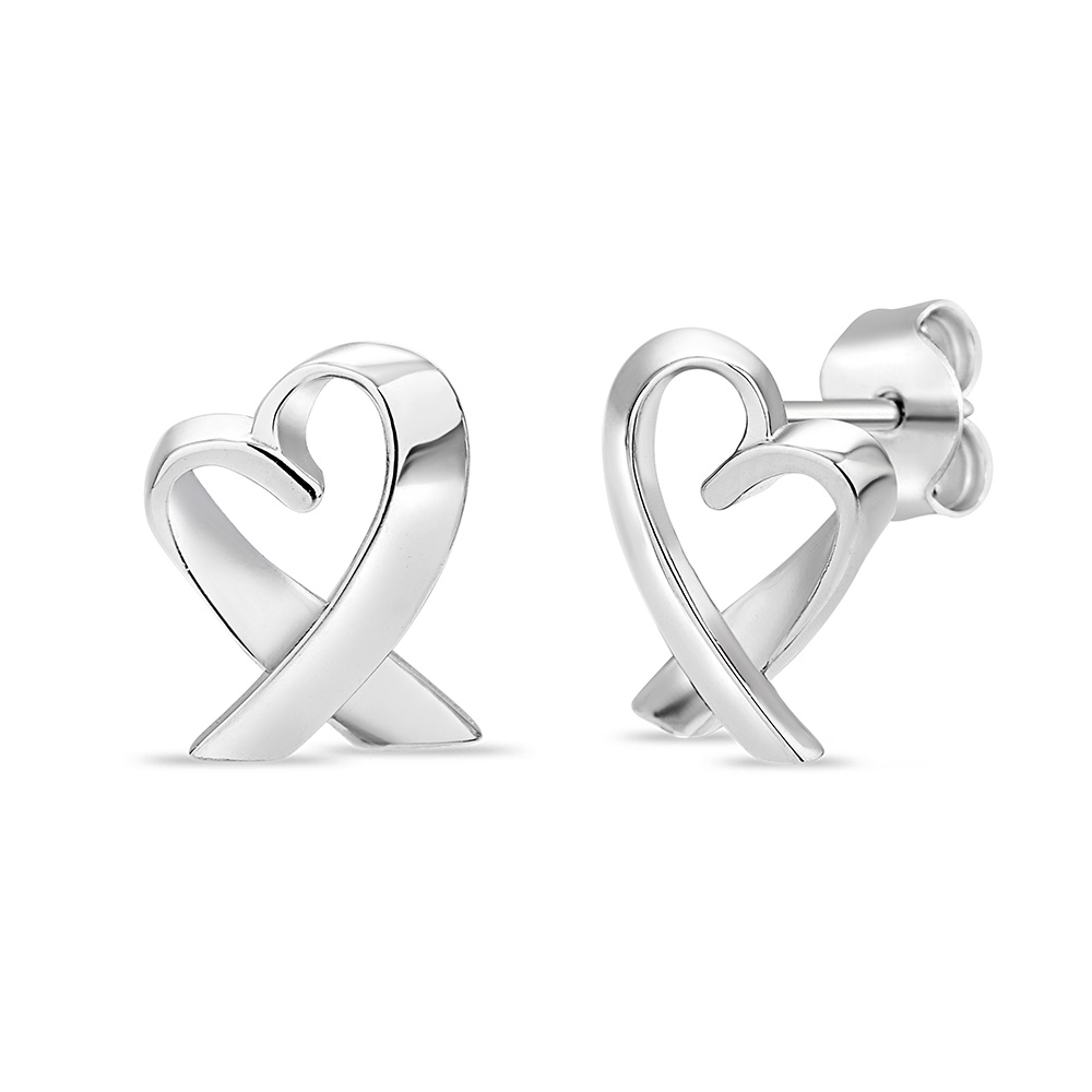 Heart Cancer symbol stud earrings in sterling silver .925