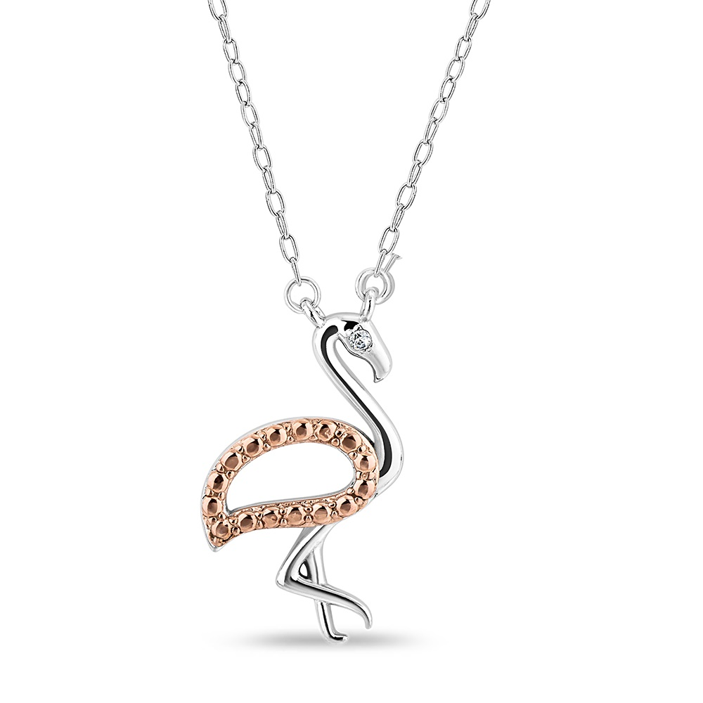 Flamingo Pendant in sterling silver and rose gold plated.