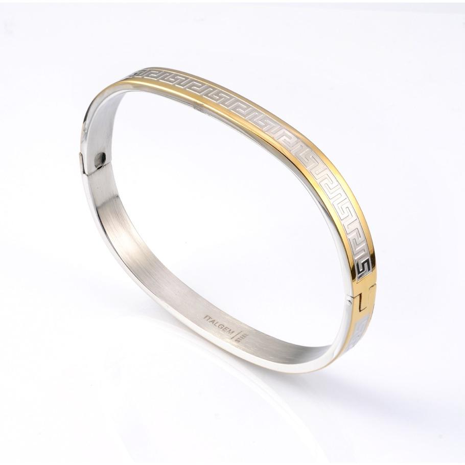 Stainless steel gold-IP, Greek key design landies bangle