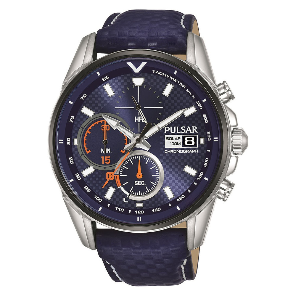 Men's chronograph solar watch – stainless steel