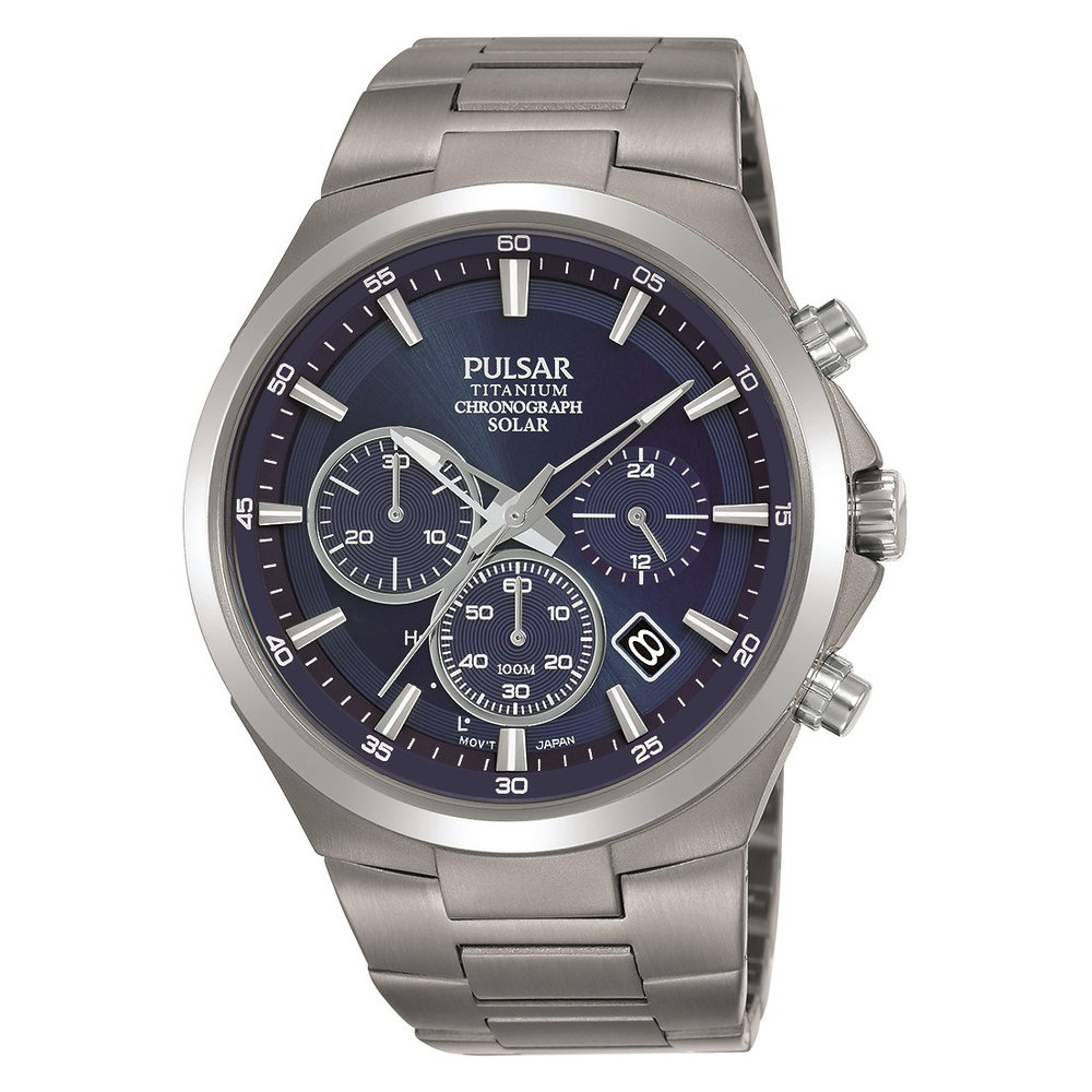 Men's chronograph solar watch – blue and silver