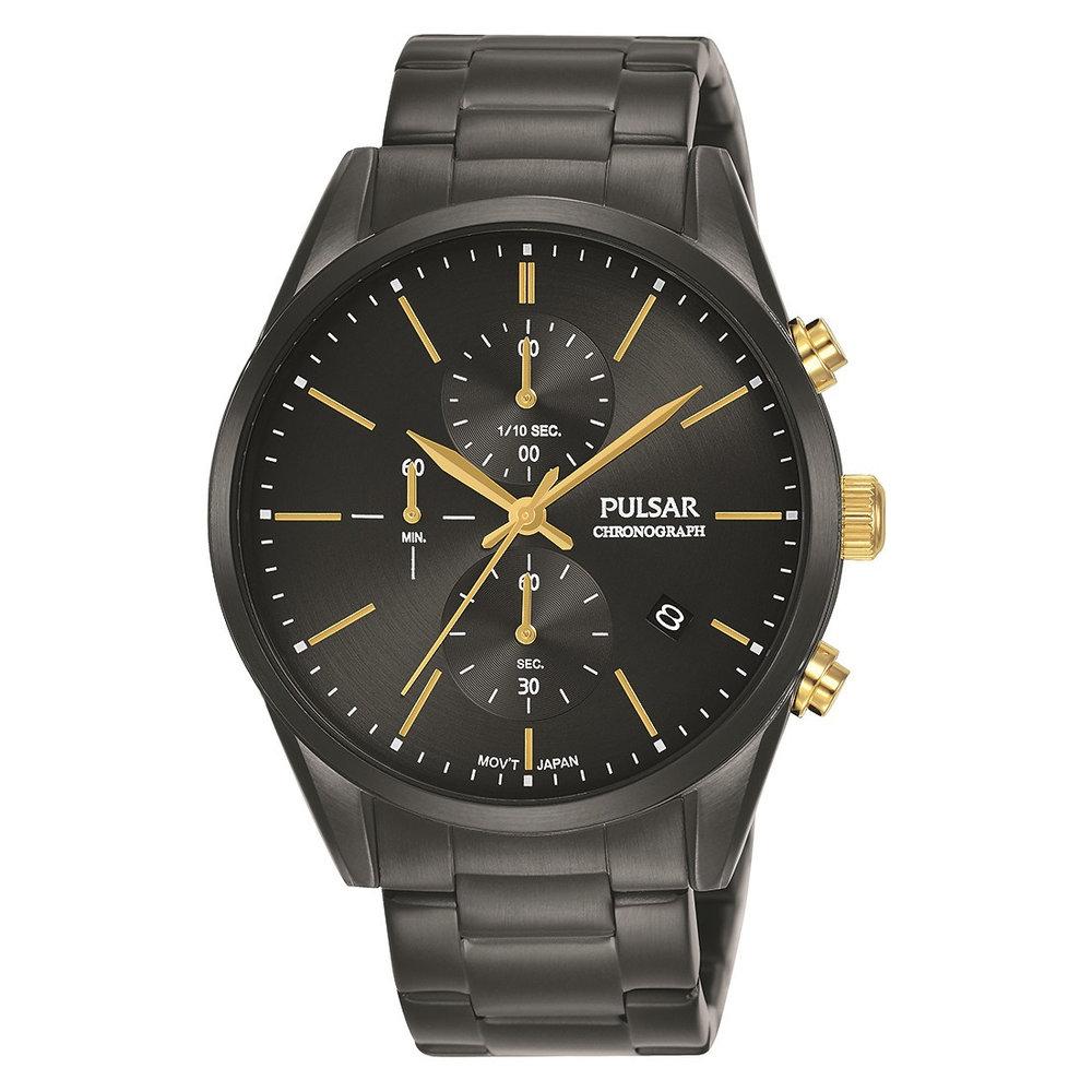 Montre chronographe pour homme – noir et or