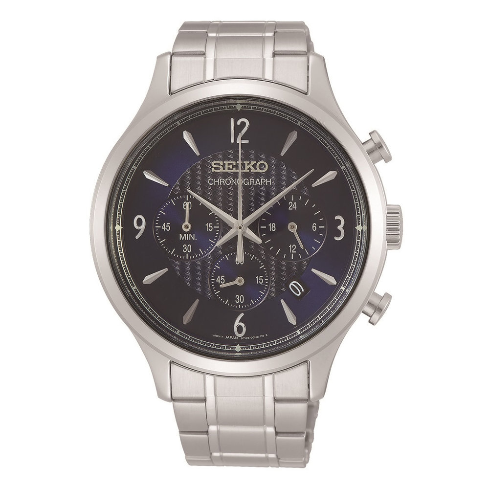 Men's watch seiko chronograph - silver and blue