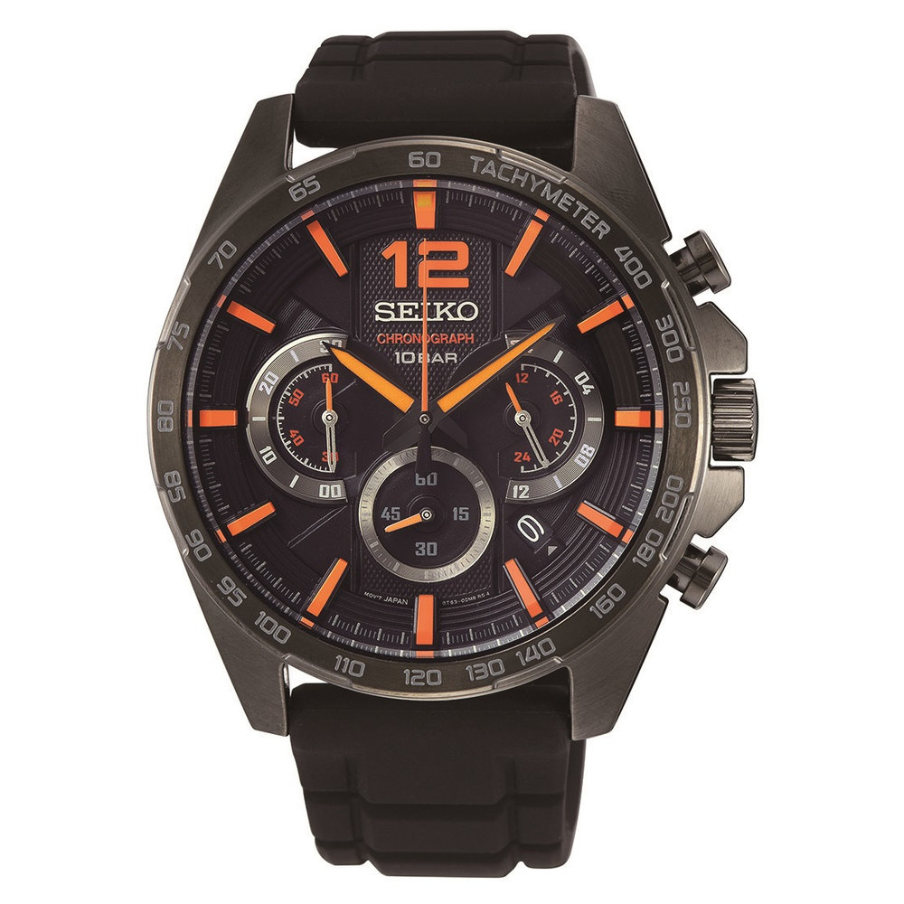 chronograph 10 bar men's watch – black & orange