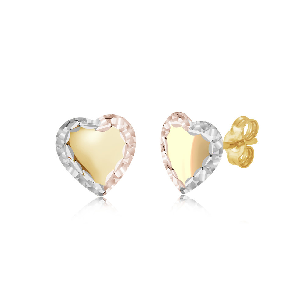 Heart Stud earrings for woman - 10K 3 tone gold
