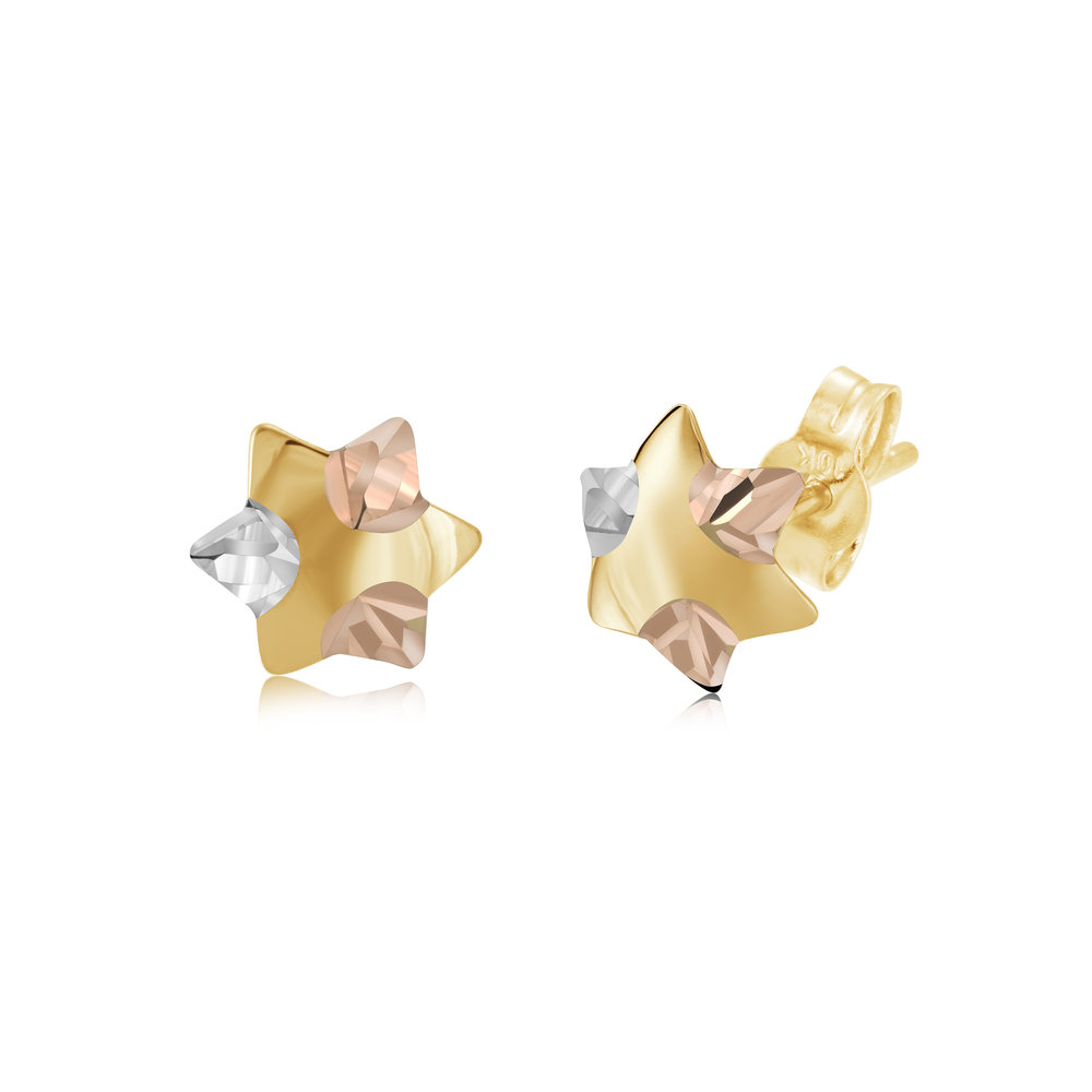 Stars Stud earrings for women - 10K 3 tone gold