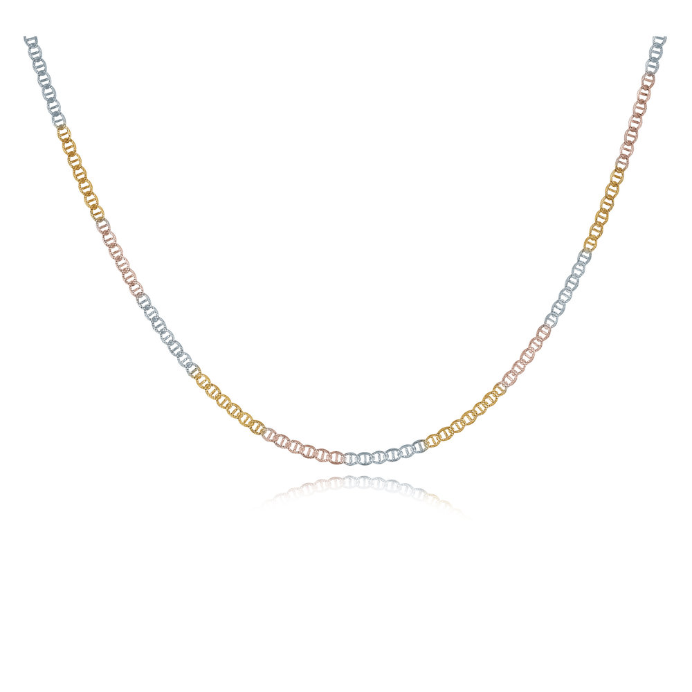 20'' Chain - 10K 3-tone Gold (yellow white and rose)