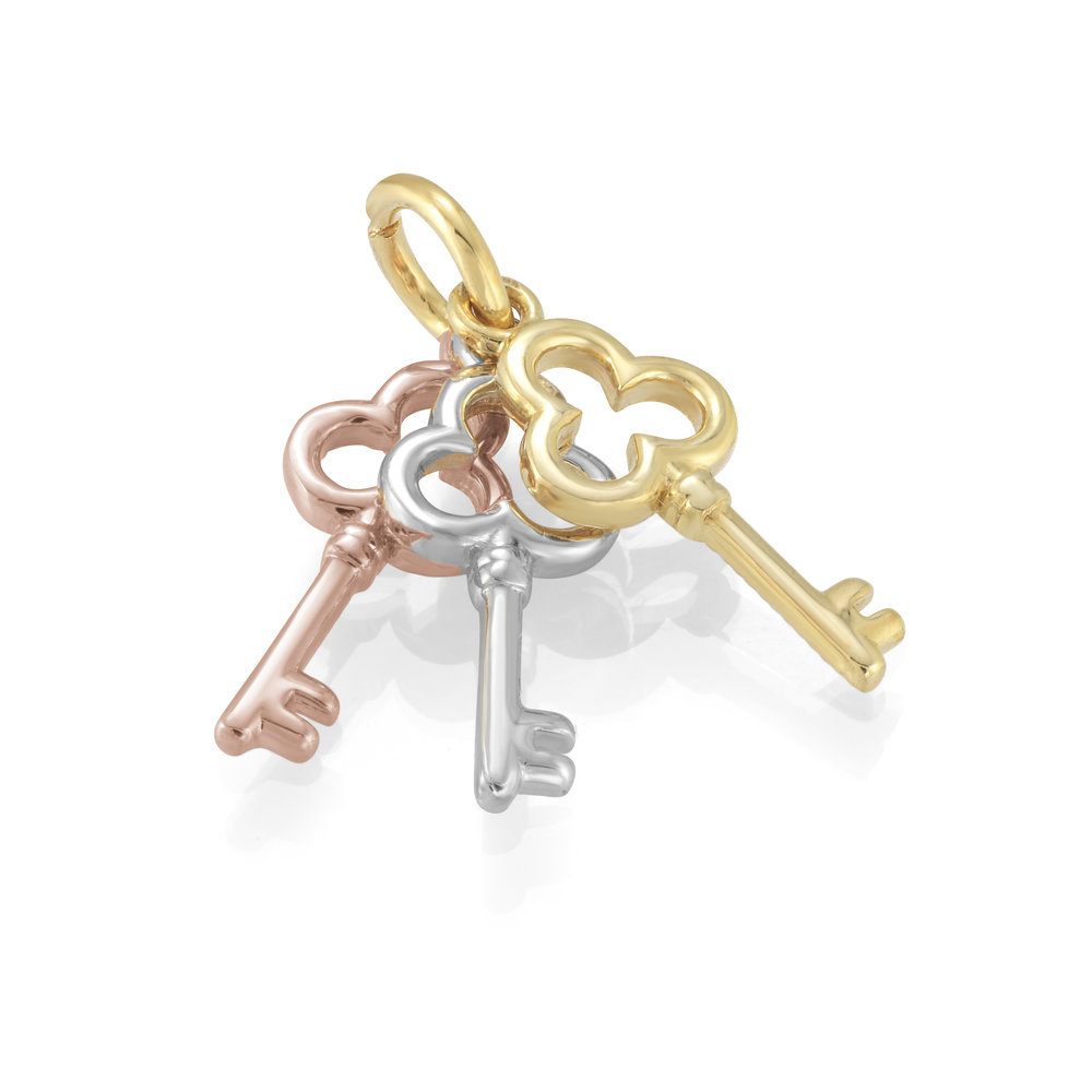 3 keys pendant 10K 3-tone Gold (yellow, white and pink)