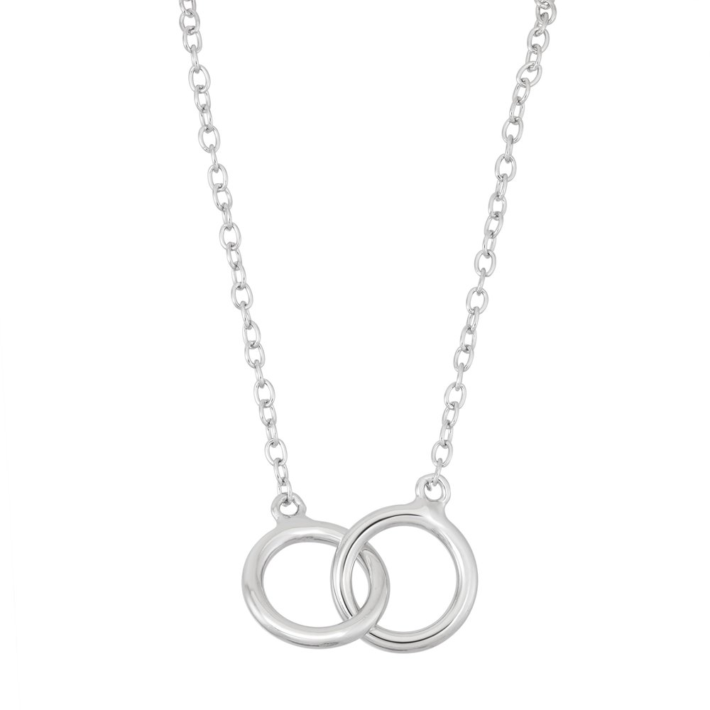 Double interlocked rings necklace in sterling silver .925
