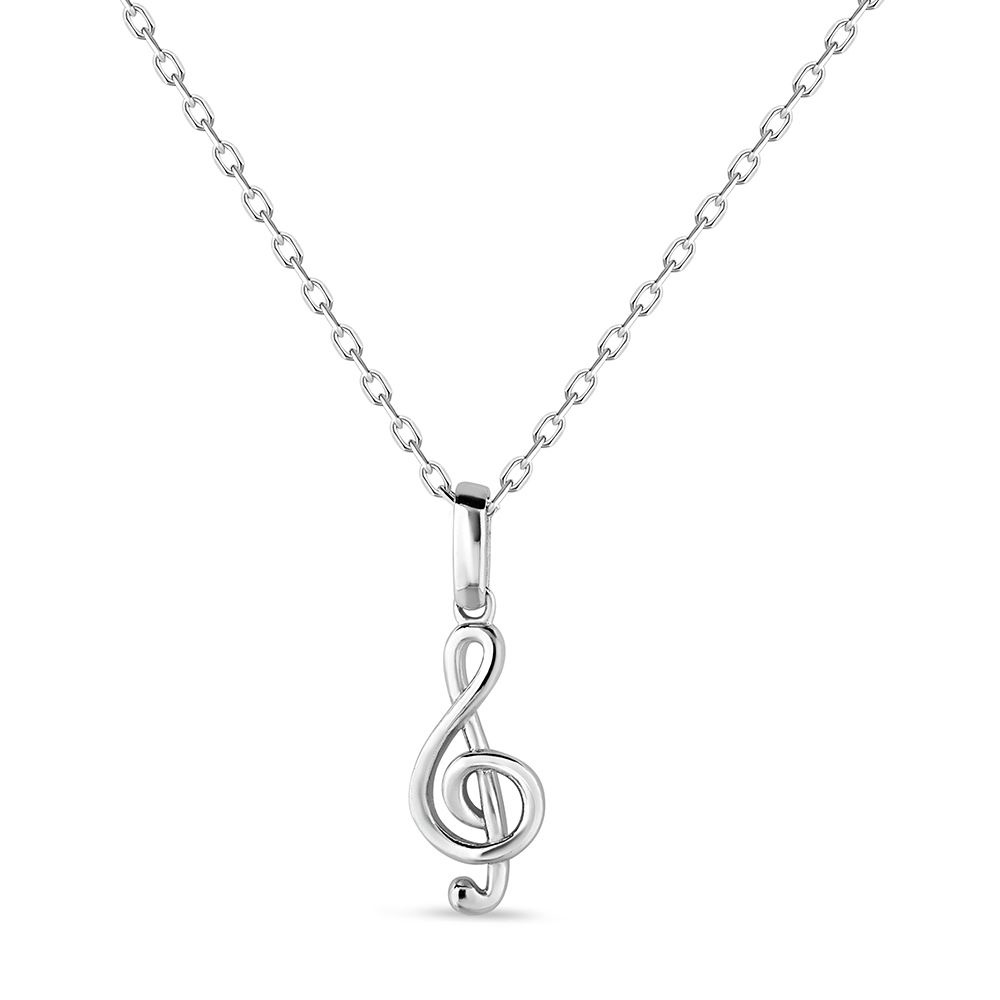 Sterling silver rhodium plated musical note pendant
