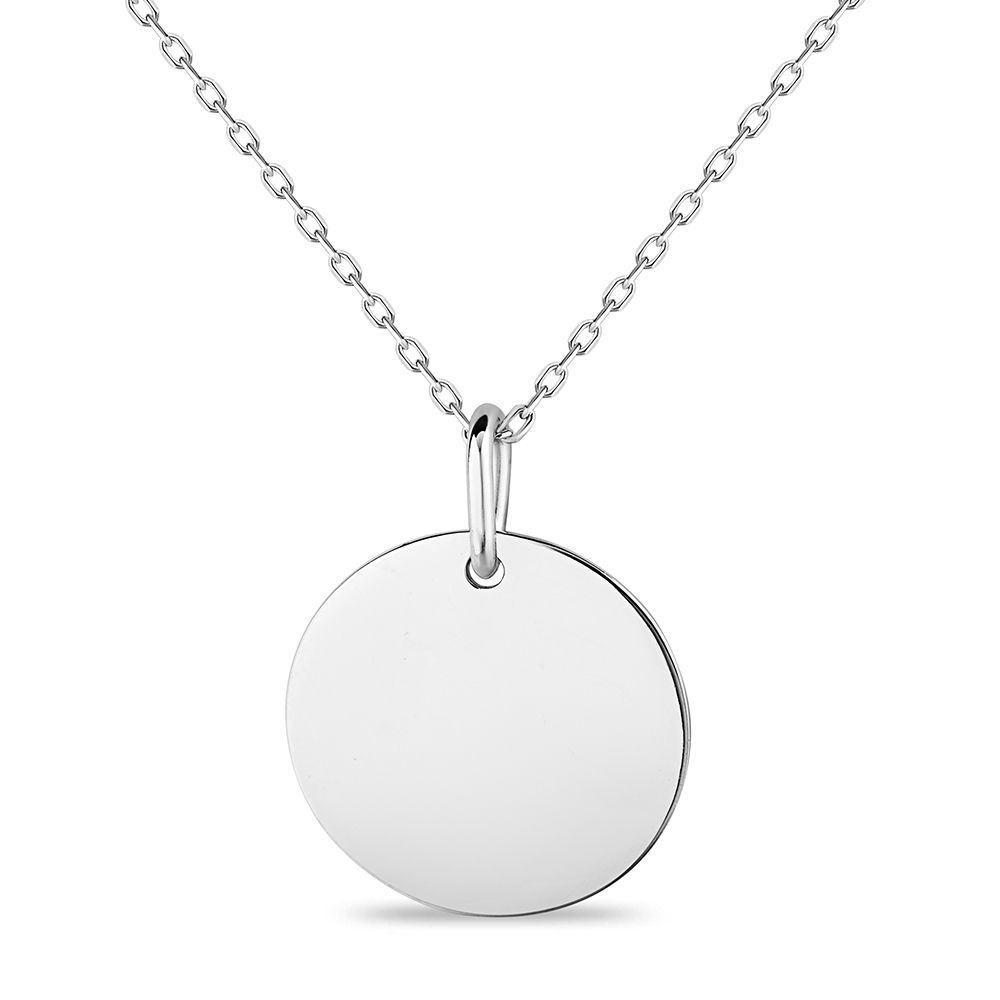 polished engravable disc necklace in sertling silver .925