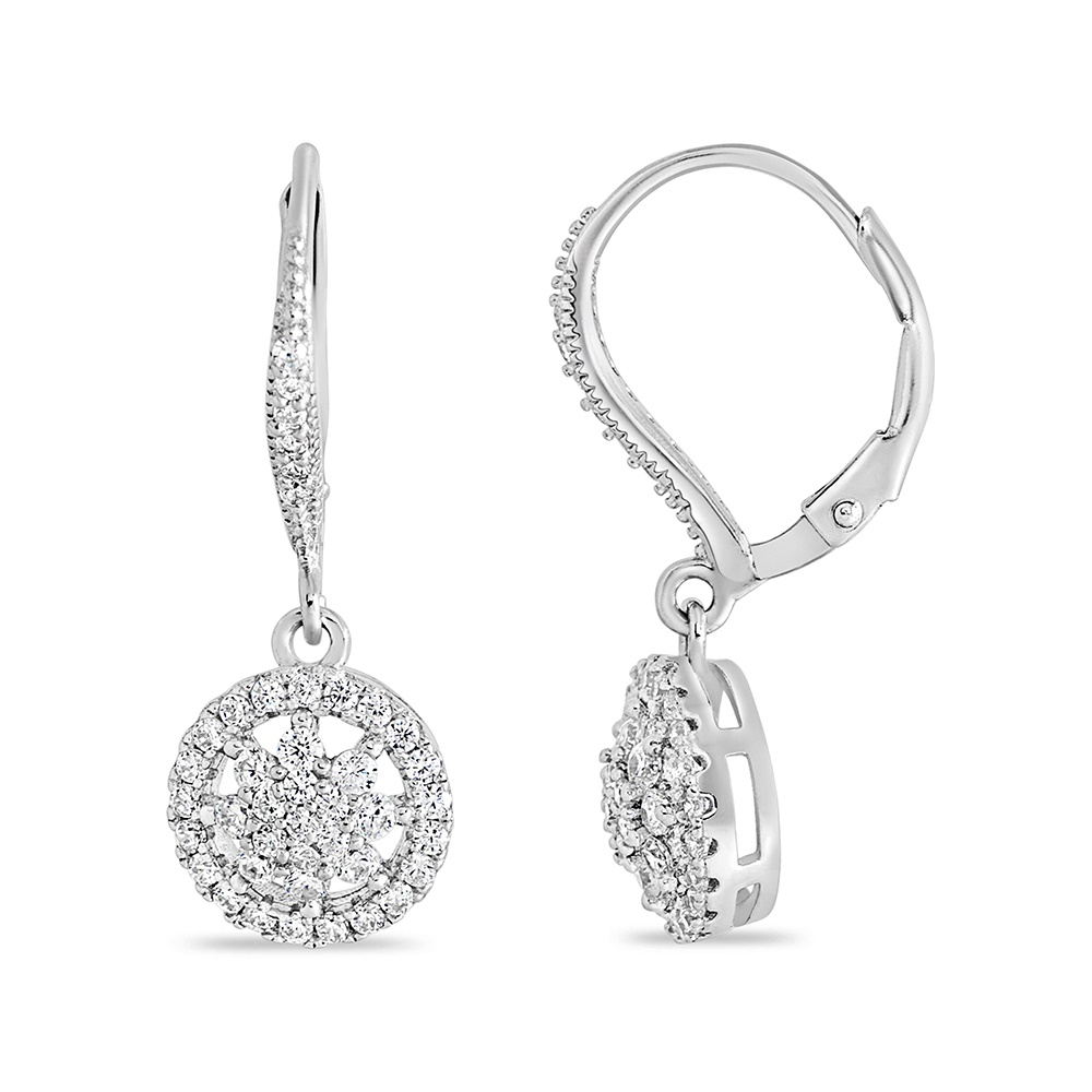 Flower hanging earrings  .925 sterling silver and cubic zirconia