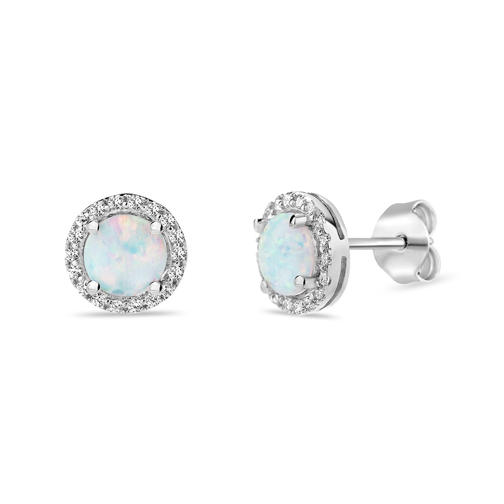 .925 sterling silver opal earrings with cubic zirconia