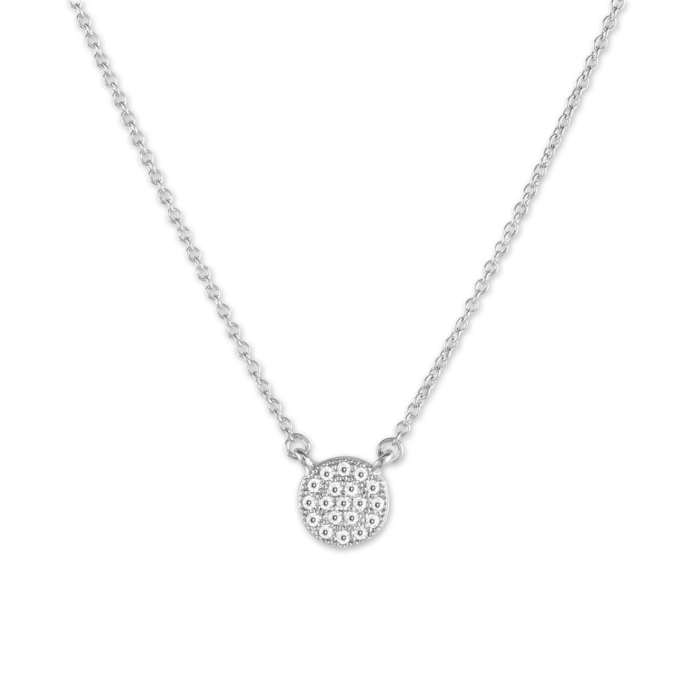 sterling silver .925 micro pave necklace with cubic zirconia