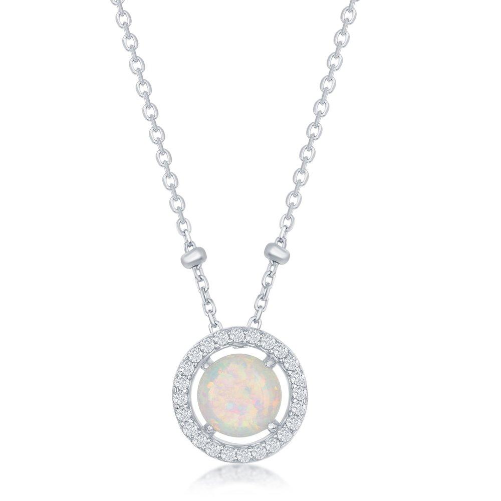 Collier opale en argent sterling .925 avec zircons cubiques
