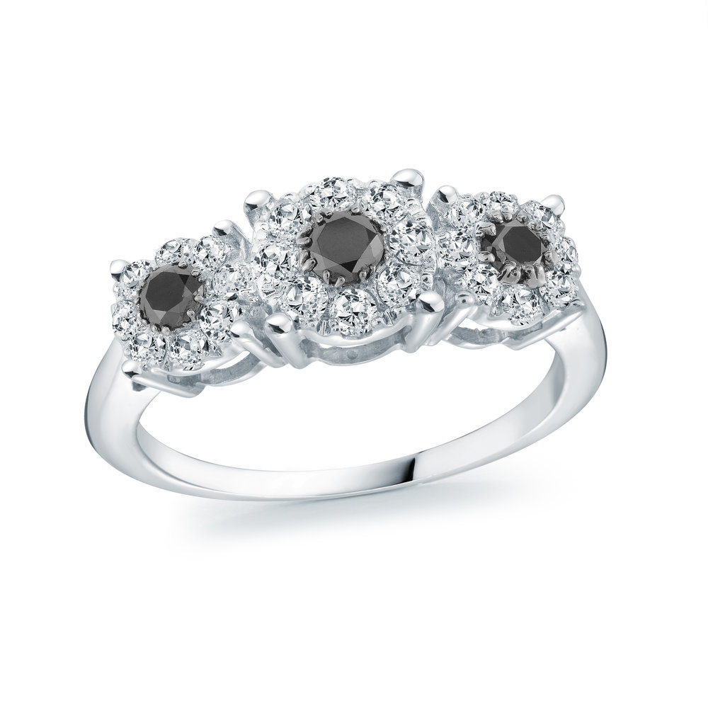 Ring for woman - 14K white Gold & Diamonds T.W. 78pts