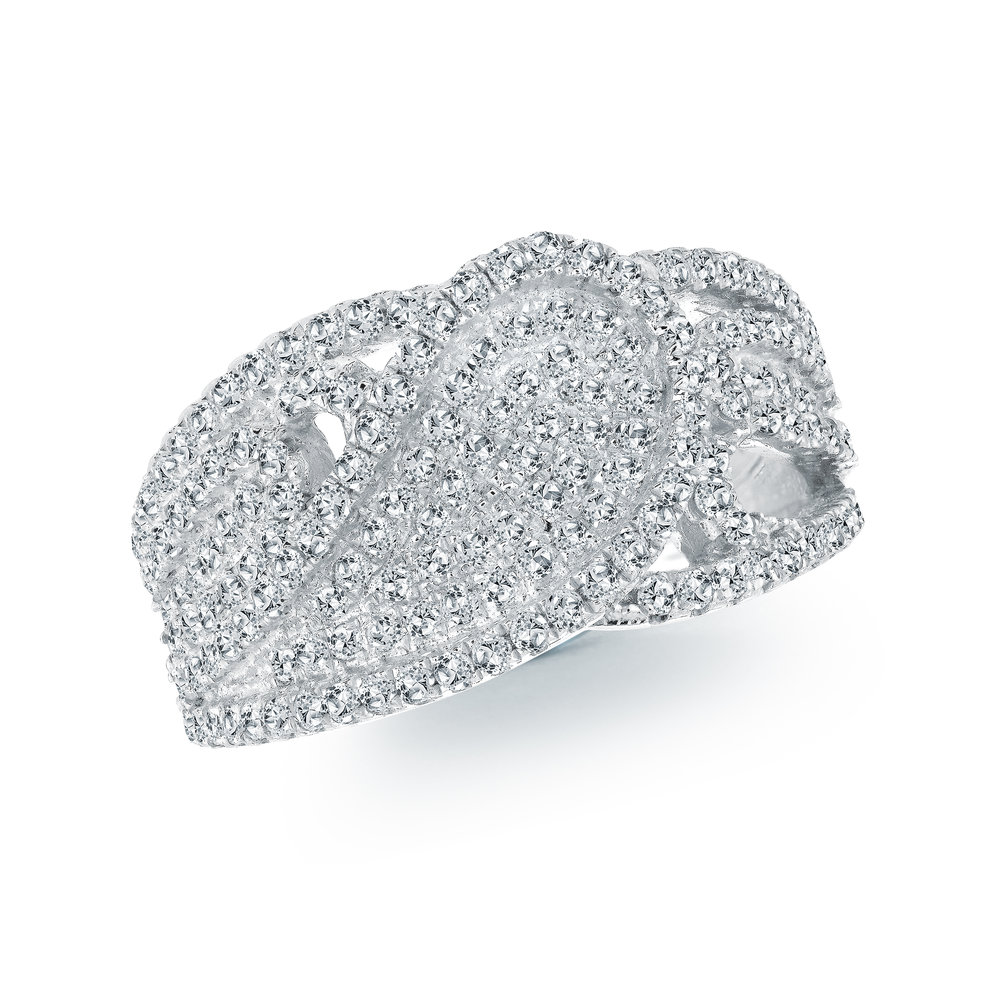 Ring for woman - 10K white gold & Diamonds T.W. 1.00 carats