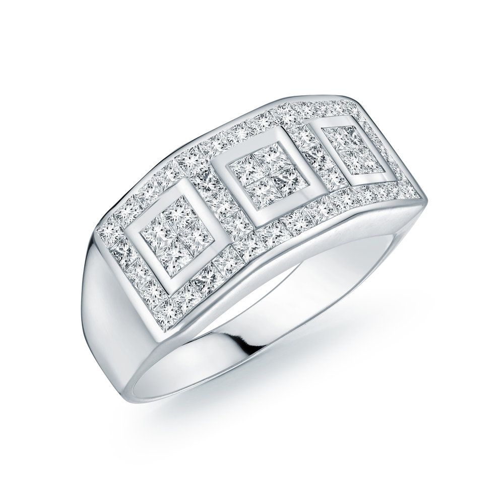 Ring for woman - 14K white gold & Diamonds T.W. 1.50 carats