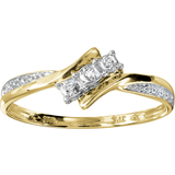 Lady's ring with diamonds 0.015 Carat T.W. - in 10K 2-tone Gold (yellow and white)