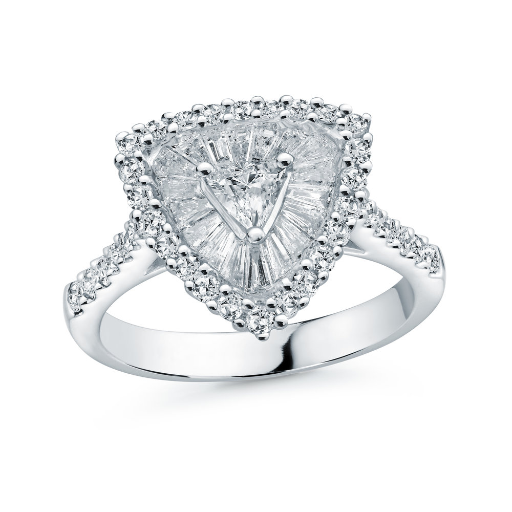 Ring for woman - 18K white gold & Diamonds T.W. 1.12 carats