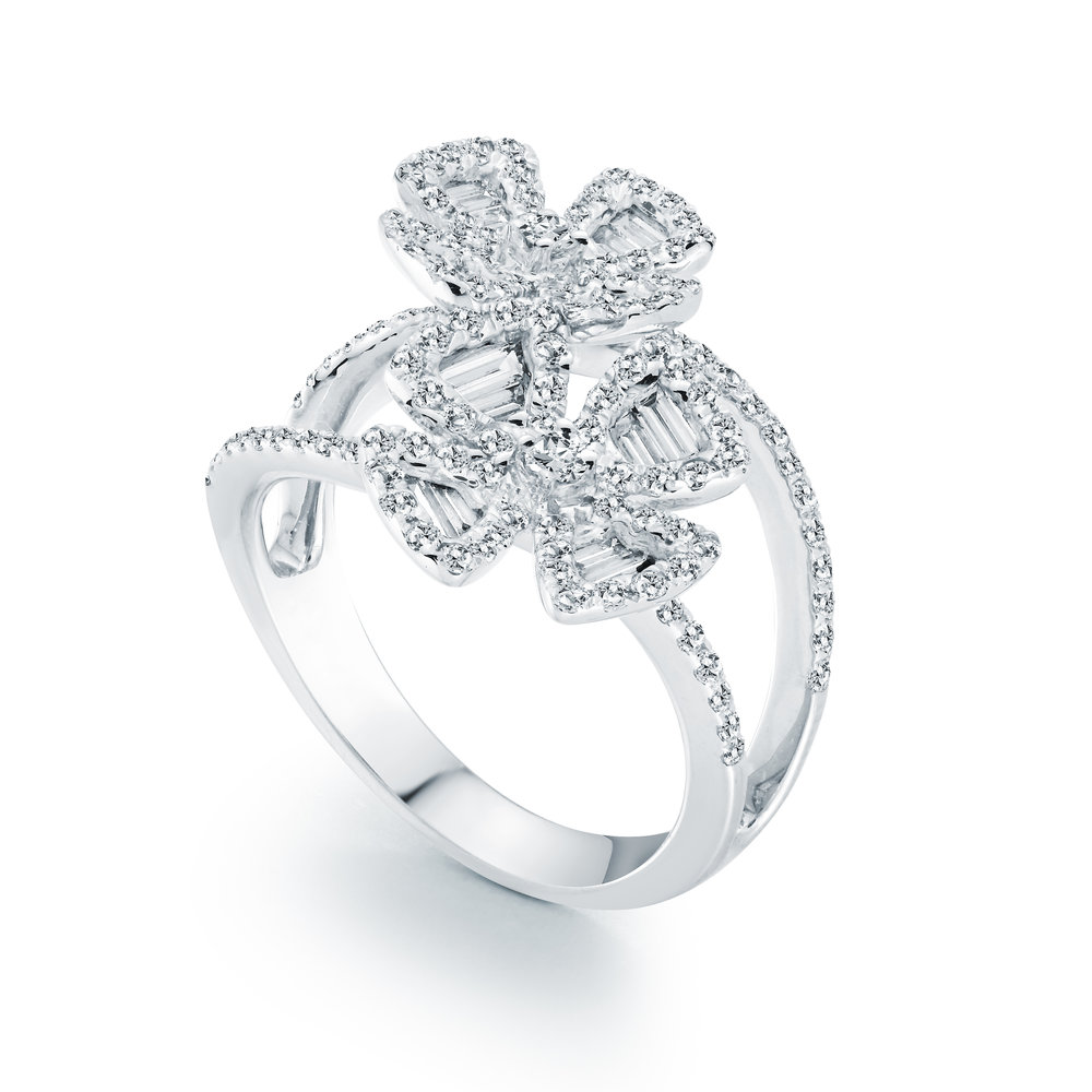 Ring for woman - 18K white gold & Diamonds T.W. 1.29 carats