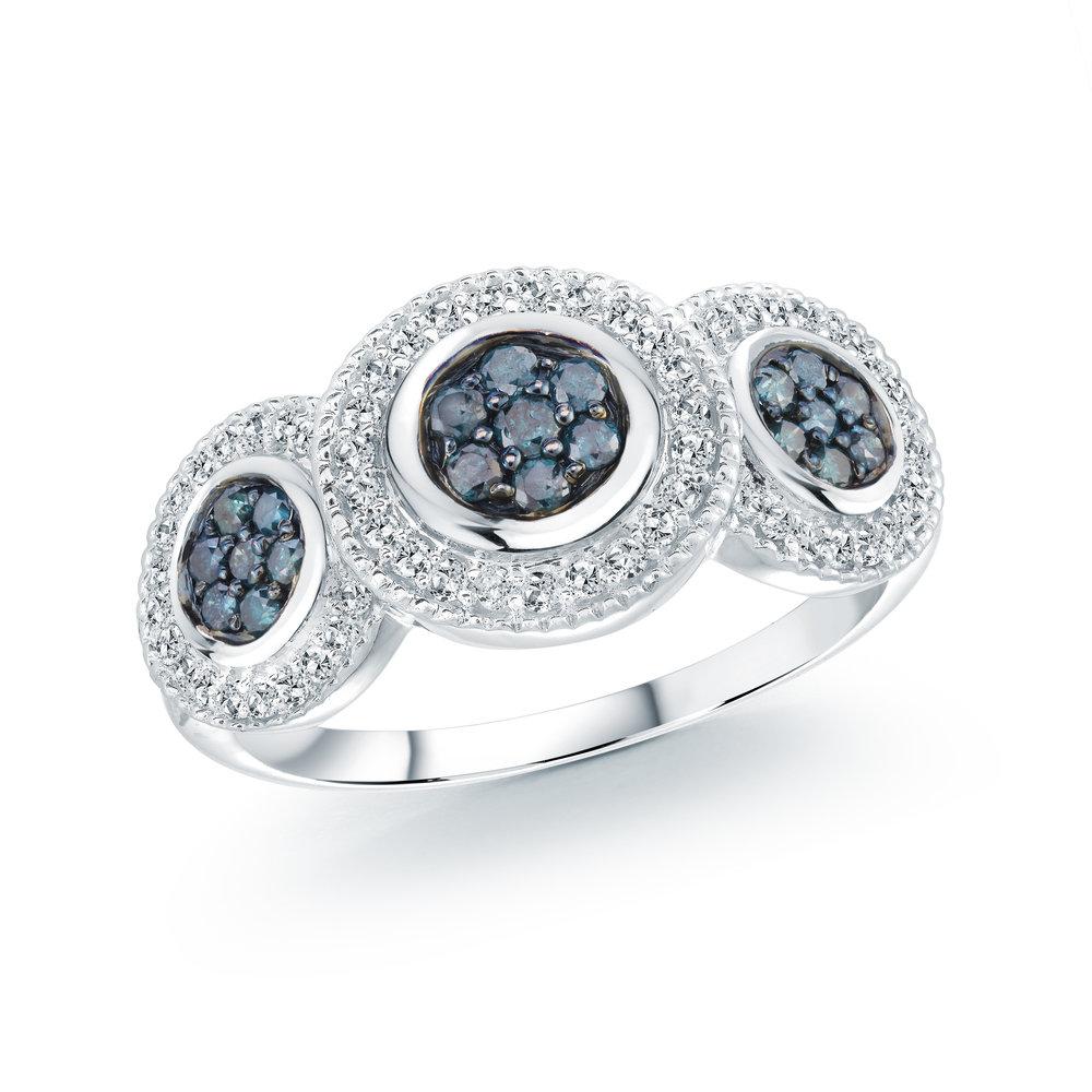 Bague pour femme - Or blanc 14K & Diamants bleu totalisant 51 pts