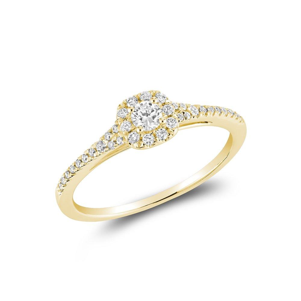 Solitaire pour femme - Or jaune 10K et diamants totalisant 25 Pts.