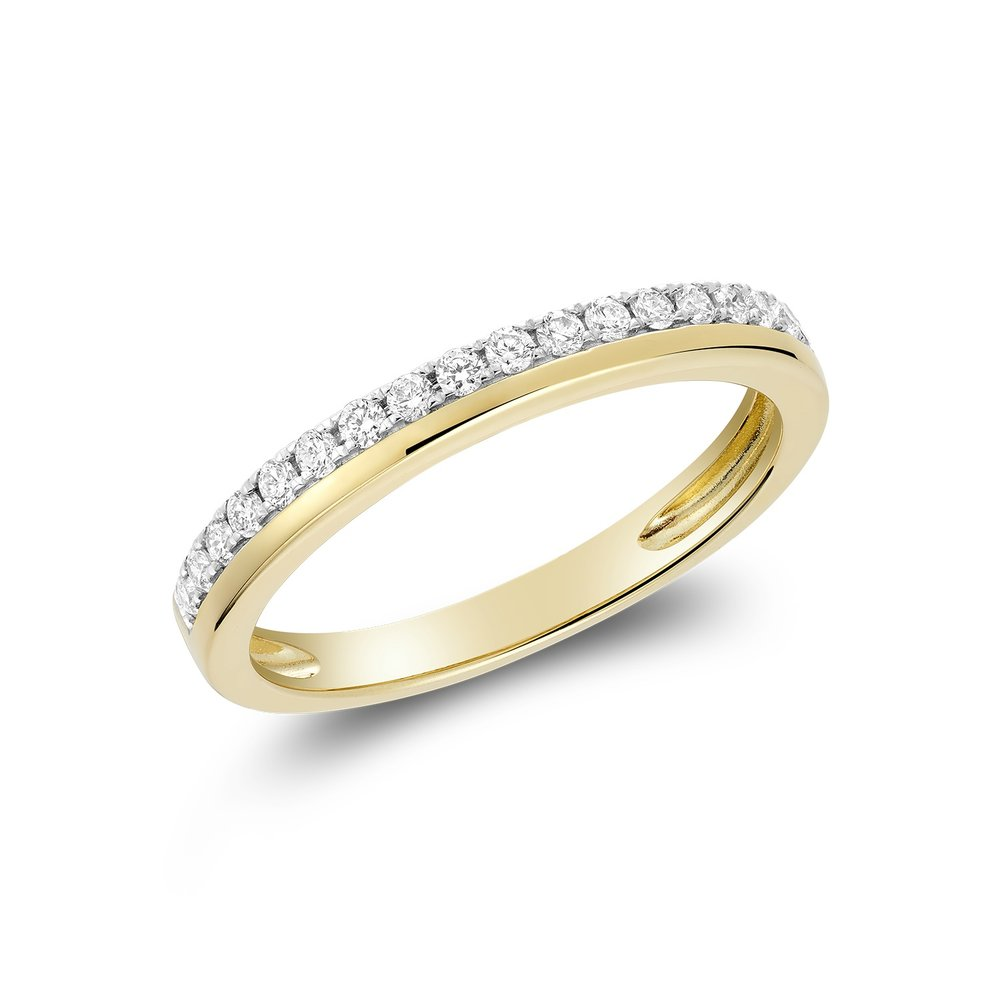 Semi-eternity band for woman - 10K white gold & Diamonds T.W. 9pts
