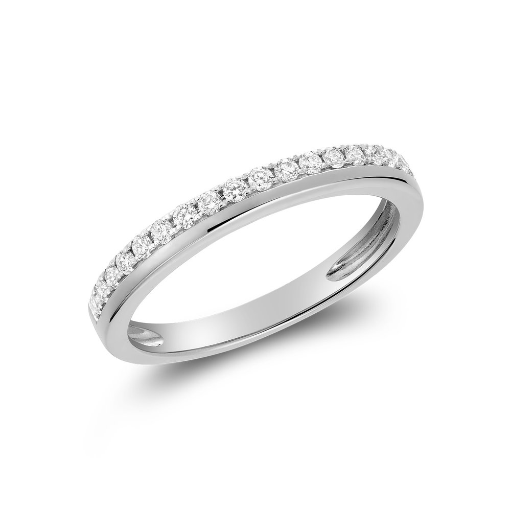 Semi-eternity band for woman - 10K white gold & Diamonds T.W. 9 pts