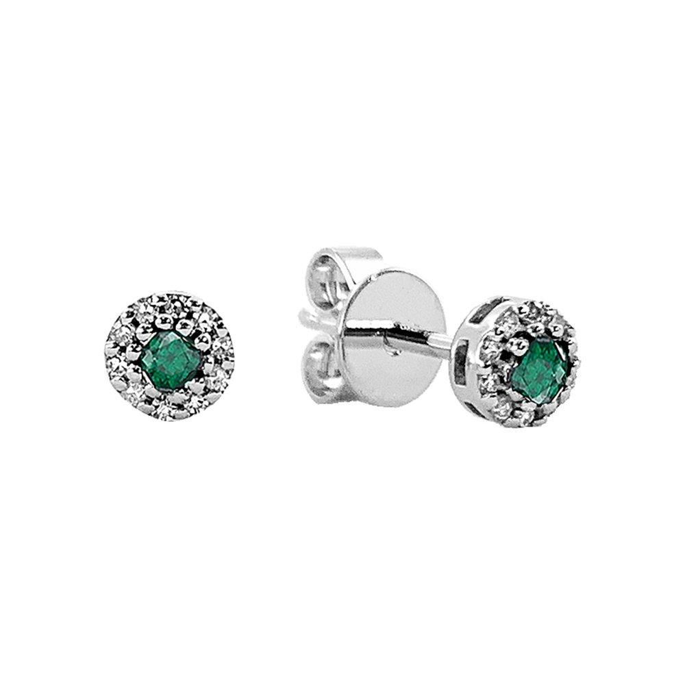 Boucles d'oreilles en émeraude et diamants