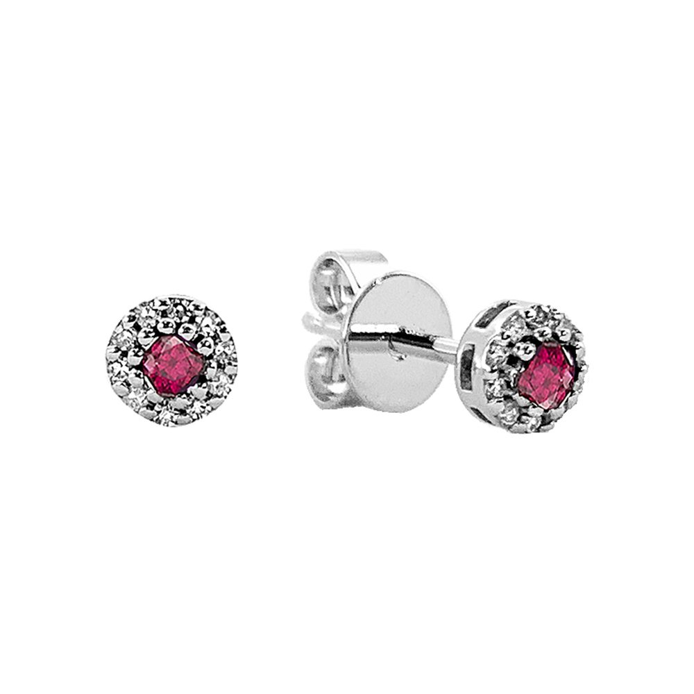 Boucles d'oreilles  en rubis et diamants