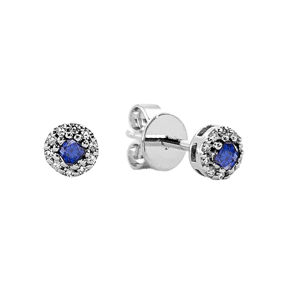 Boucles d'oreilles en bleu saphir et diamants