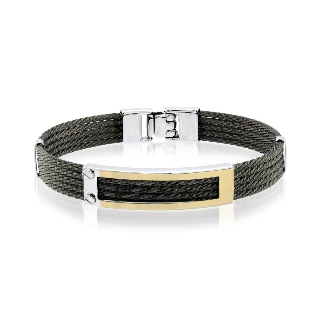 Men Bracelet - Black leather & Stainless steel