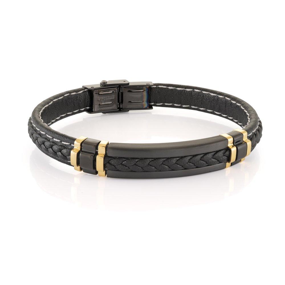 Bracelet pour homme, Cuir noir tressé & Acier inoxydable