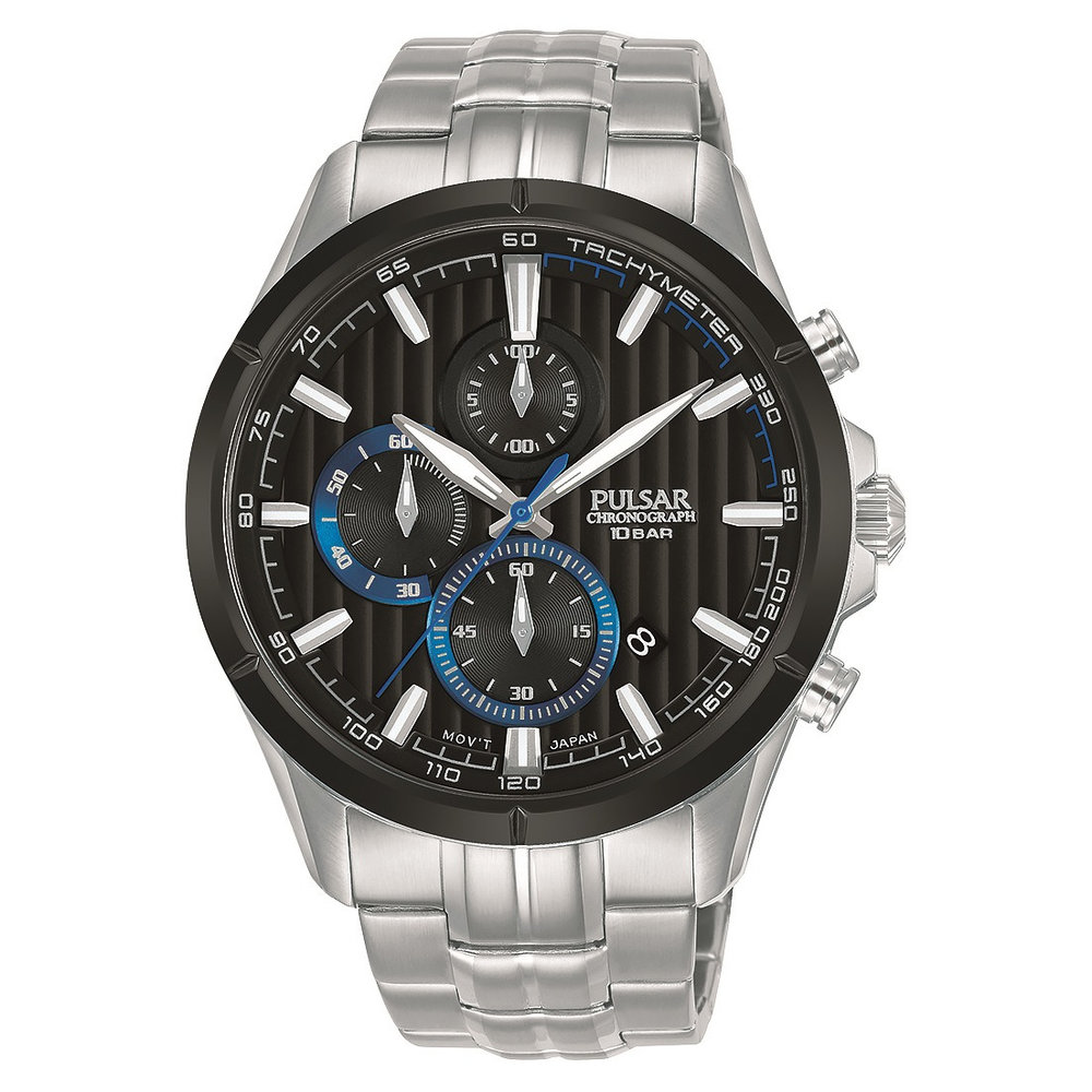Montre chronographe Pulsar pour homme - Argent et noir