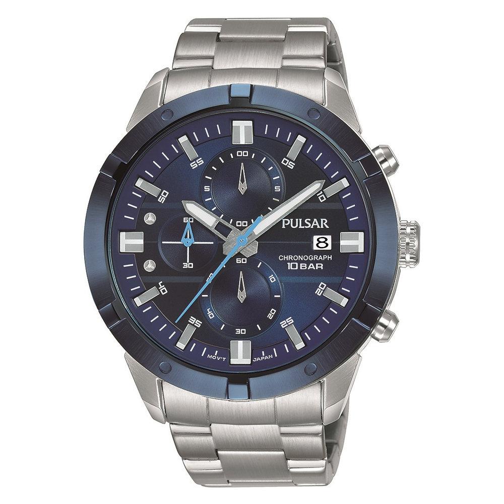 Montre chronographe Pulsar pour homme - Argent et bleu