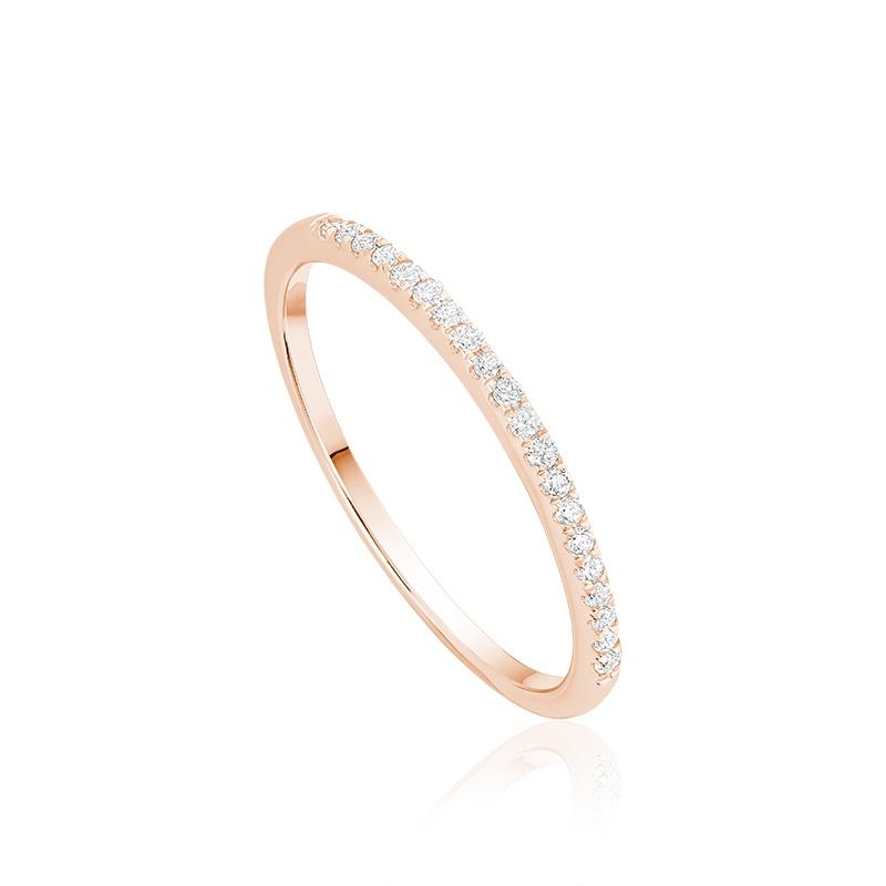 Ring for women semi-eternity - 10K rose gold & Diamonds