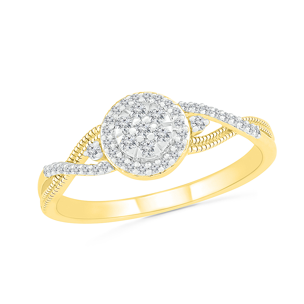 Ring for women - 10K yellow gold & Diamonds T.W. 16 pts
