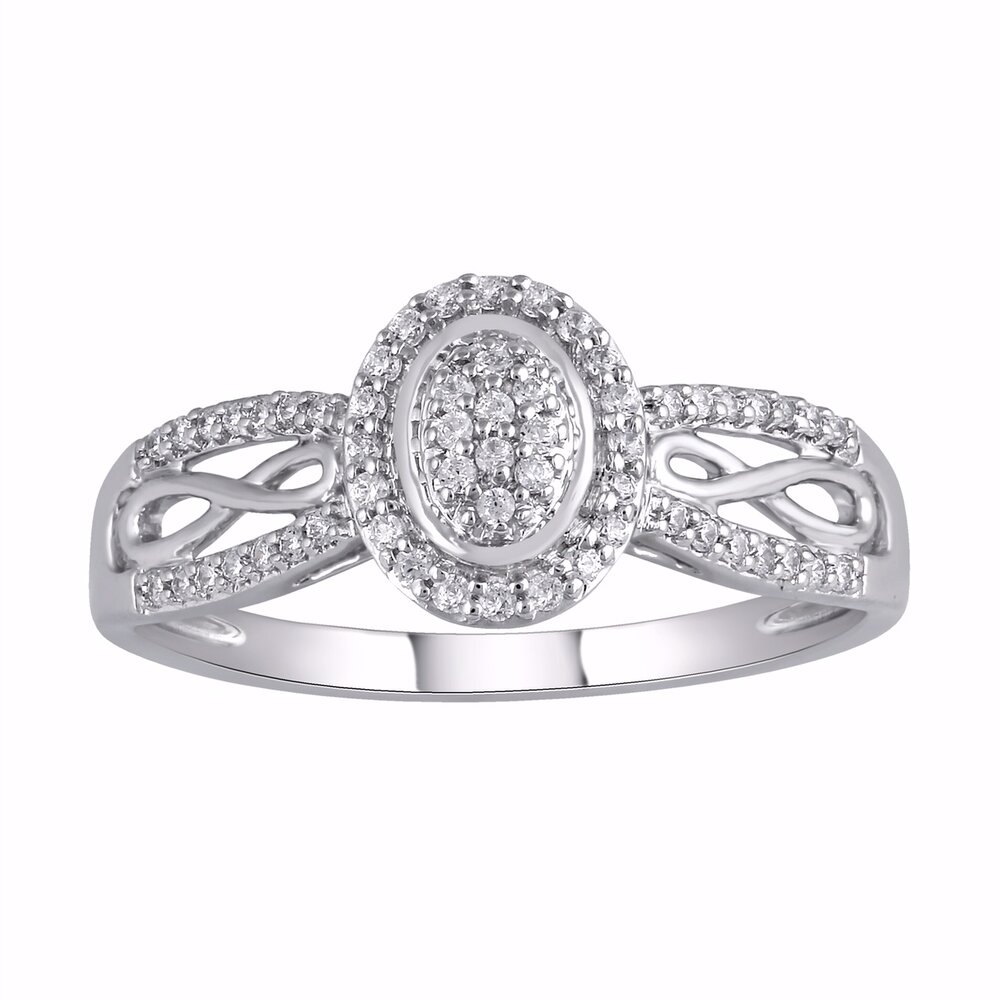Women's ring with an infinity symbol - 10K white gold & Diamonds T.W. 17 pts