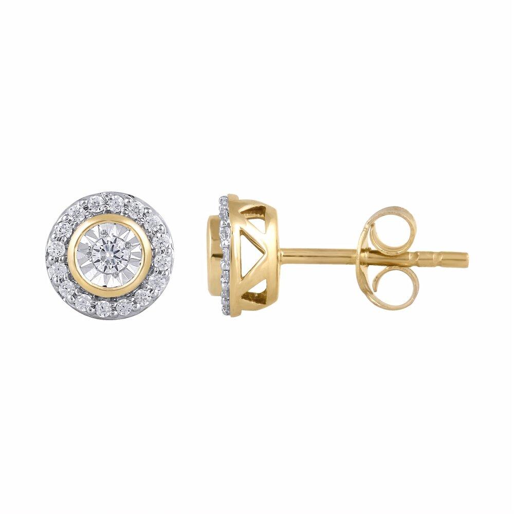 Boucles d'oreilles fixes pour femme, Or jaune 10k avec diamants totalisant 18 pts.