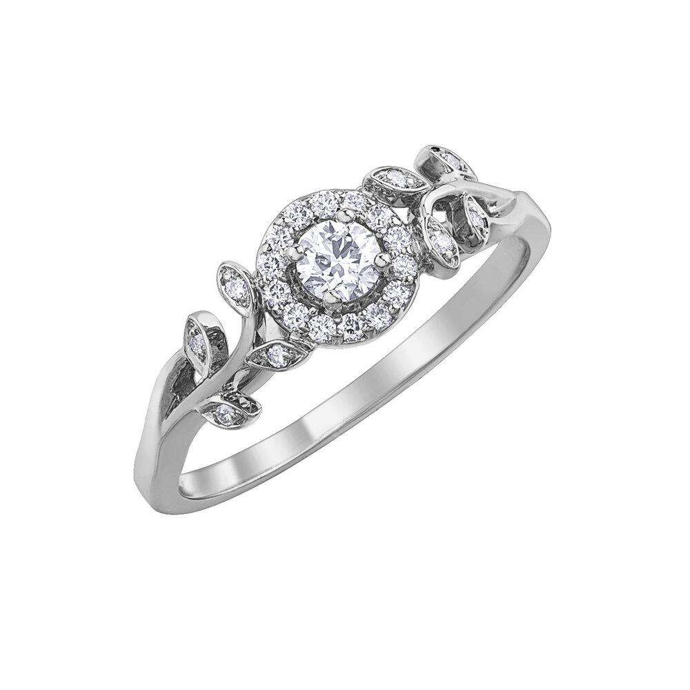 Bagues solitaire Éclat du Nord - Or blanc 10K & Diamants totalisant 25 pts