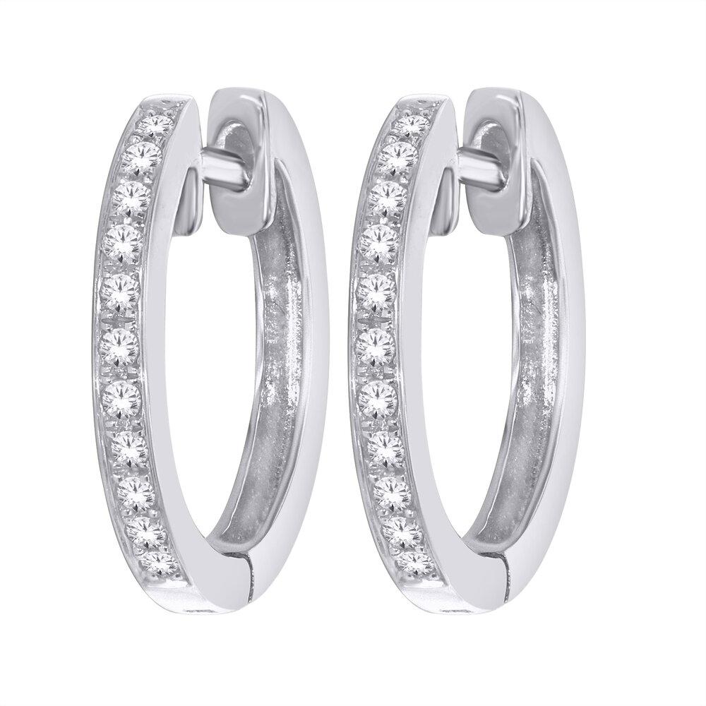 Diamond Hoop earrings - 10K White Gold & T.W. 10pts.