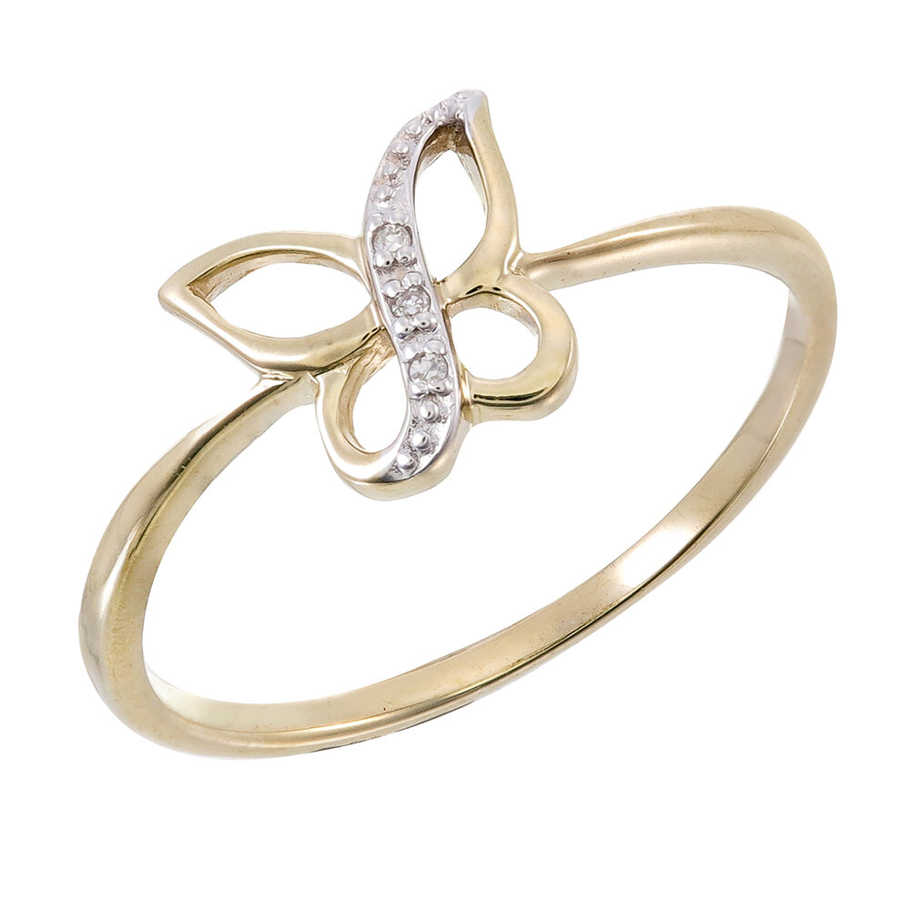 Bague papillon pour femme - Or 2-tons 10K & Diamants totalisant 1pts