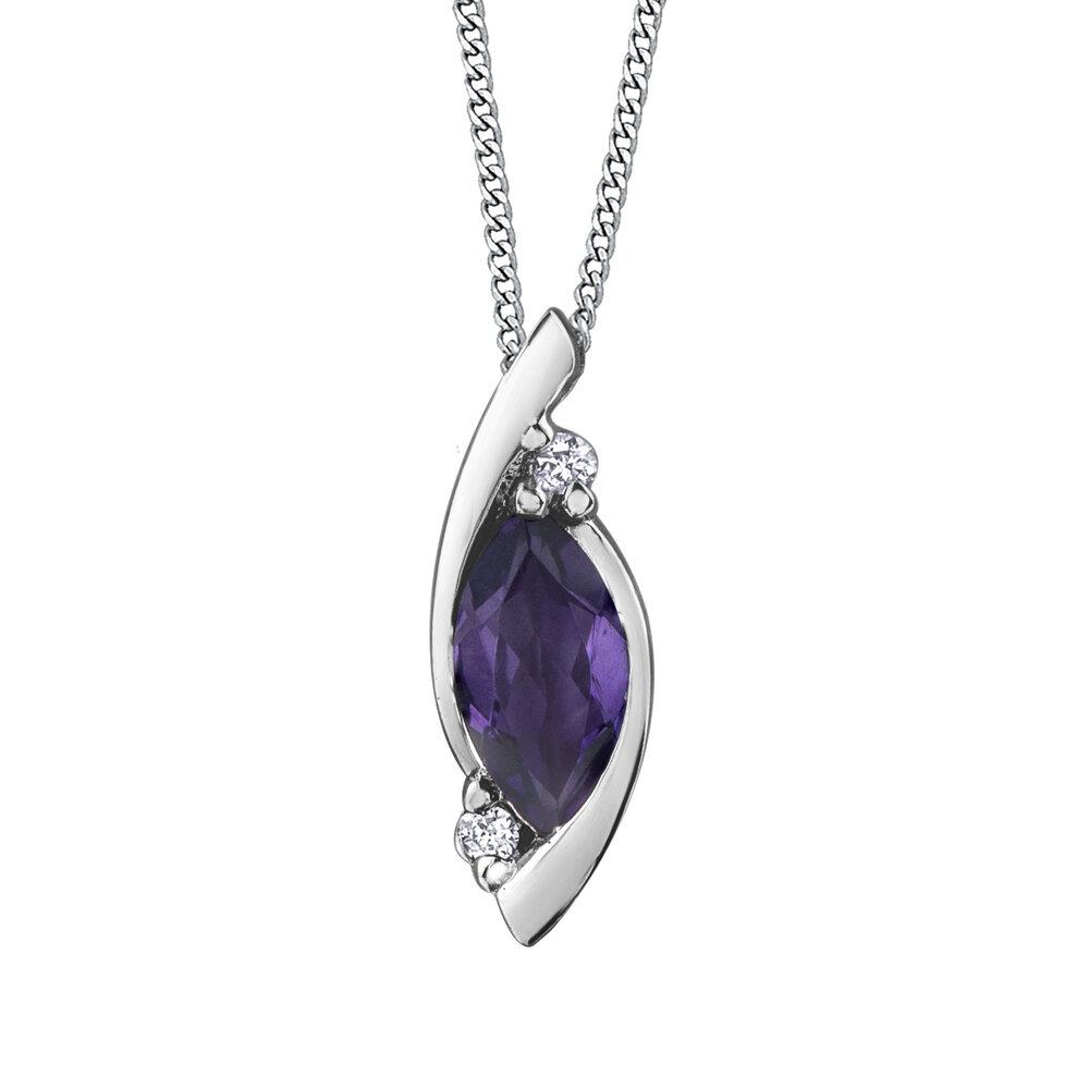 Pendentif pour femme - Or blanc 10K avec améthyste & diamants totalisant 1 pts