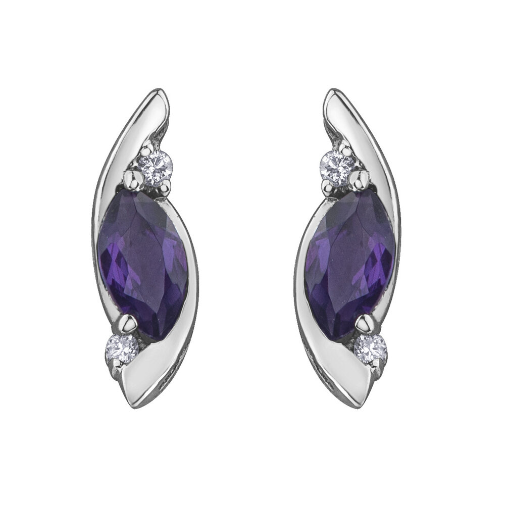 Earrings for woman - 10K white gold with amethyst & diamonds
